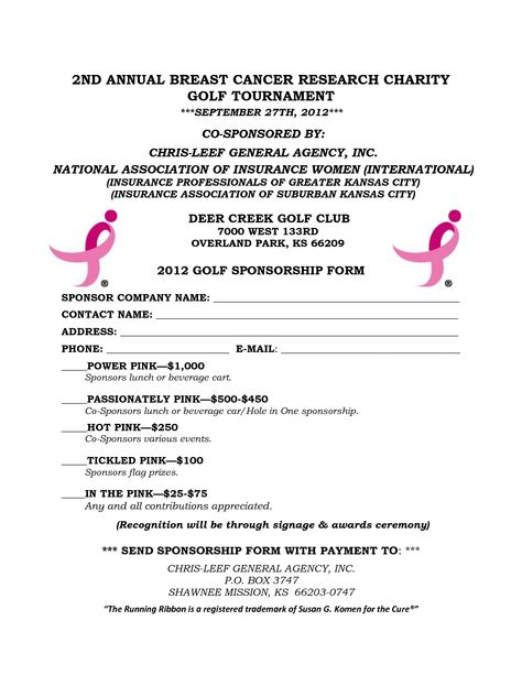 Power Of Pink Golf Tournament 2012 GOLF SPONSORSHIP FORM By   Sponsorship  Form  Charity Sponsor Form Template