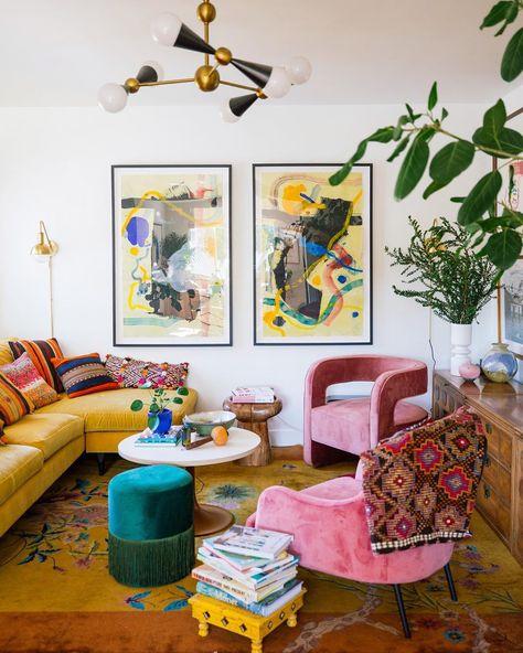 Home Decor Hooks, Home Decor Baskets, Dream House Interior, Home Interior Design, Boho Living Room, Living Room Decor, Dining Room, Tree House Decor, Colorful Apartment