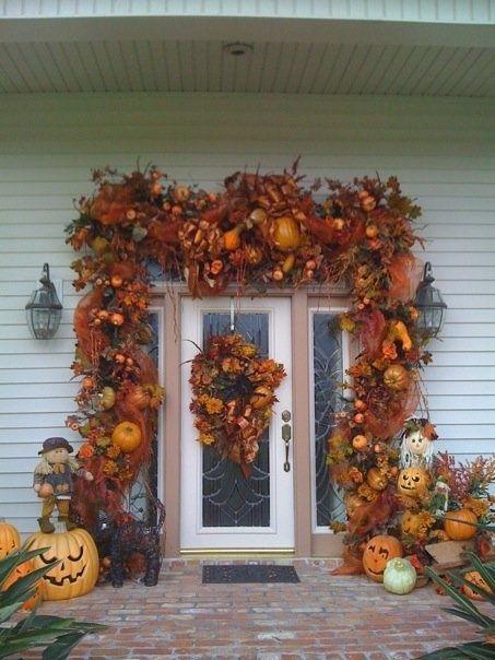 Beautiful Fall Decorated Front Door In 2019 Exterior