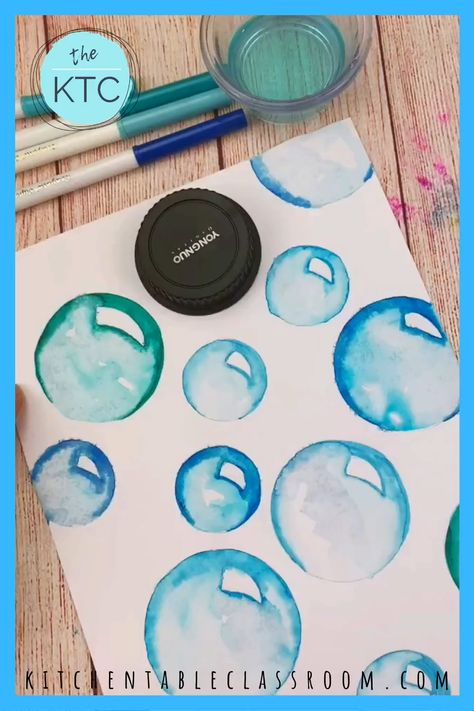 Learn  how to draw colorful bubbles using washable markers. #bubbles #drawingideas