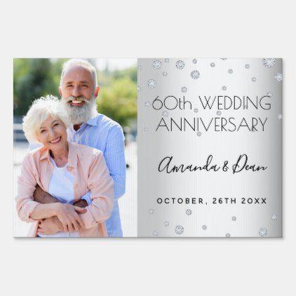 60th Diamond Wedding Anniversary Photo Drive By Sign Zazzle Com Wedding Anniversary Photos Anniversary Photos 60 Wedding Anniversary