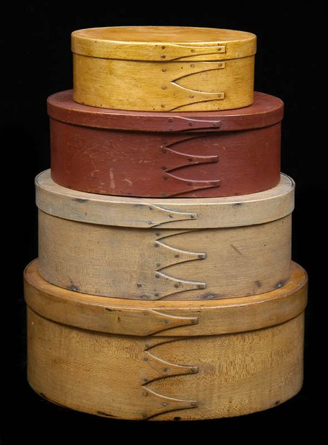 Primitive Handmade  Brown Fabric Covered  Pantry Shaker Hat Box  Civil War
