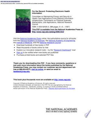 Download For The Record Free In 2020 Protected Health Information Physical Science Genetic Information