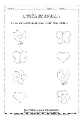 Fichas De Educacion Preescolar Cual Es Igual Identificacion De Fi Educacion Preescolar Figuras Geometricas Para Preescolar Actividades Para Ninos Preescolar