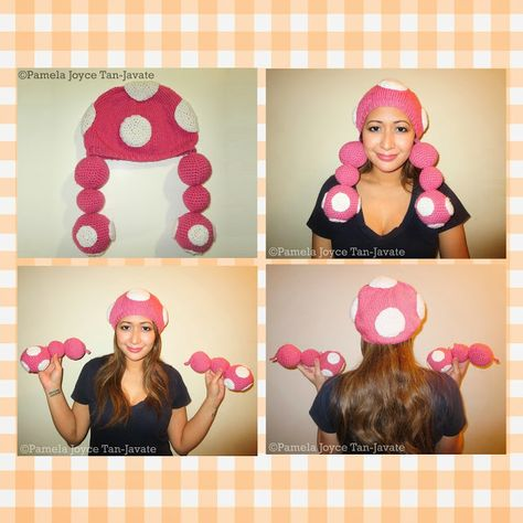 Toadette Beanie (Knit and Crochet Combination) - Can be worn as a plain beanie/beret, or with the pigtails.  arts, beanie, charmed, cosplay, costume, crafts, crochet, diy, etsy, geekery, hat, headpiece, knitting, miss pamela, misspamela, project, Super Mario Bros, Toad, Toadette