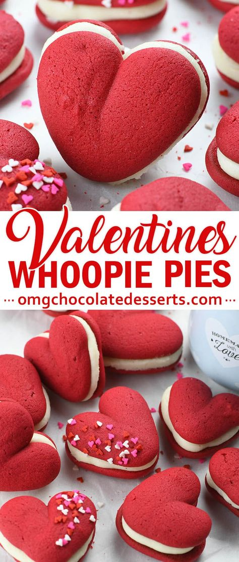 Heart shaped Red Velvet Whoopie Pies is the perfect dessert for Valentine's Day and easy homemade Valentine's gift. These cute, heart shaped whoopie pies. Valentine Desserts, Mini Desserts, Valentines Baking, Valentines Day Food, Valentine Treats, Holiday Treats, Dessert Recipes, Homemade Valentines, Valentines Day Quotes For Him