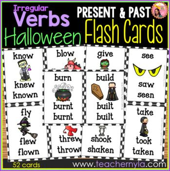 Halloween Themed Irregular Verb Flash Cards Flashcards Halloween Themes Irregular Verbs