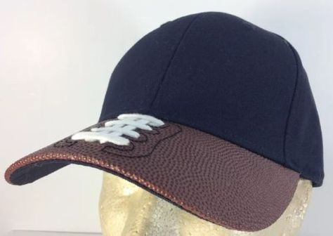 ca186a687e2 Football-With-Laces-Brim-Baseball-Sports-Cap-Hat-Legacy-Cotton-Trucker-Black