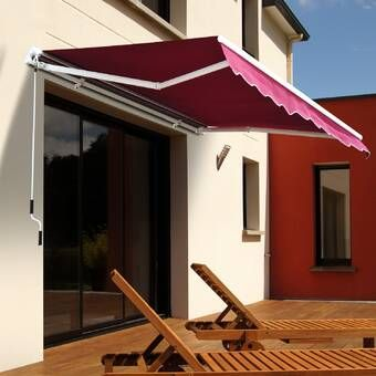 12 Ft W X 10 Ft D Fabric Retractable Standard Patio Awning In 2020 Patio Awning House Awnings Retractable Awning