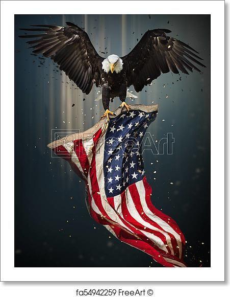 Symbol Of America With Flag United States Of America Patriotic Symbols Freeart Fa54942259 Free Art Prints Eagle Pictures American Bald Eagle