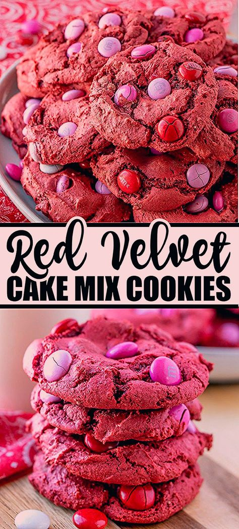 Red Velvet M&M Cake Mix Cookies are made with only 4 ingredients, one bowl, and take less than 30 minutes. These red velvet cookies are an easy dessert, perfect for Valentine's Day! | www.persnicketyplates.com #cookies #redvelvet #cakemixcookies #semihomemade #valentinesday #dessert #easyrecipe