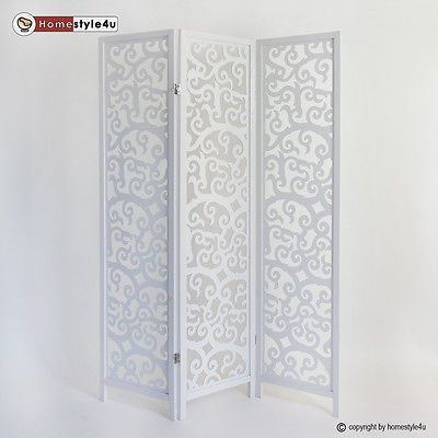 3 Fach Paravent Raumteiler Holz Trennwand Spanische Wand Sichtschutz Weiss Paravent Raumteiler Raumteiler Raumteiler Holz