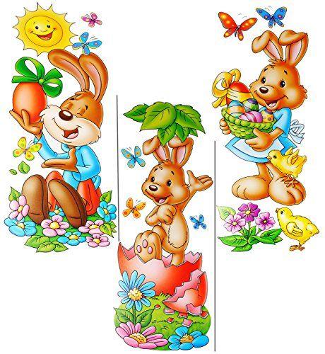 Alles Meine De Gmbh 3 Versch Bogen Xl Fensterbilder Susse Osterhasen Statisch Haftend Selbstklebend Wiede Osterhase Frohe Ostern Grusse Ostern