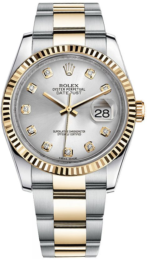 116233 Rolex Oyster Perpetual Datejust 36 Silver Dial Men S Watch Watches For Men Rolex Rolex Datejust
