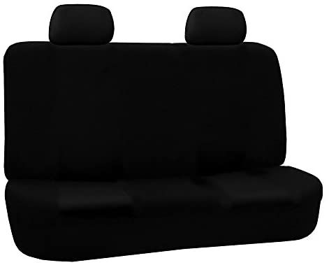 Amazon Com Fh Group Fb050black012 Black Fabric Bench Car Seat Cover With 2 Headrests Automotive Fabric Bench Van Seat Covers Carseat Cover