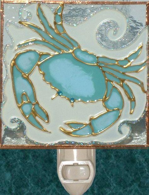 Decorative Crab Night Light Wall Plug In Stain Glass Nightlight Beach Coastal