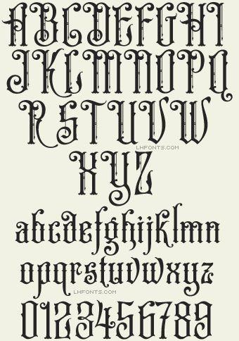 Letterhead Fonts / LHF Old Iron font set / Old-fashioned Fonts. Tattoo Fonts Alphabet, Hand Lettering Alphabet, Calligraphy Fonts Alphabet, Creative Lettering, Lettering Design, Gothic Lettering, Gothic Fonts, Letras Queen, Vintage Fonts
