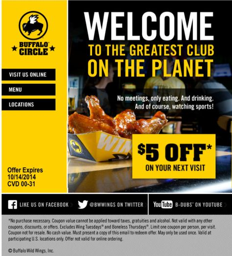 picture regarding Buffalo Wild Wings Printable Coupons named Pinterest