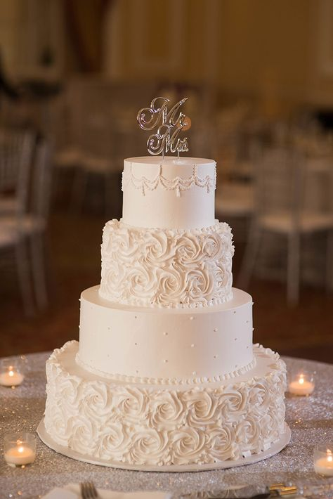 2019 Most Popular Wedding Cakes You Will Love---Simply elegant off-white wedding cakes with ruffle and couple names toppers, spring wedding ideas, elegant wedding cakes Wedding Cake Rustic, White Wedding Cakes, Elegant Wedding Cakes, Beautiful Wedding Cakes, Wedding Cake Designs, Wedding Ideas, Wedding Decorations, Beautiful Cakes, Fall Wedding