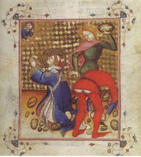 il martirio di Santo Stefano, miniatura, 1350-1378, Parigi, Biblioteca Nazionale. Gotta love the unlaced hose and the short rider's cape.