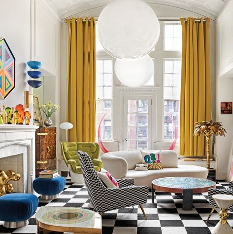 room decorating Inside Jonathan Adler and Simon Doonan's Glitz West Village Makeover Jonathan Adler& Living room with high ceilings, checkered floor, and large white light pendants Living Room White, White Rooms, New Living Room, Living Room Decor, Small Living, Cozy Living, Living Spaces, Bedroom Decor, Jonathan Adler