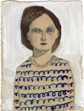 'Ilsa' by American artist Amanda Blake. Pencil with acrylic, watercolor & ink on paper, 3.5 x 5 in. via thisisalliknow on Etsy