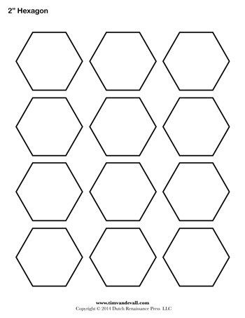 Hexagon Template 2 Inch Hexagon Quilt Pattern Hexagon
