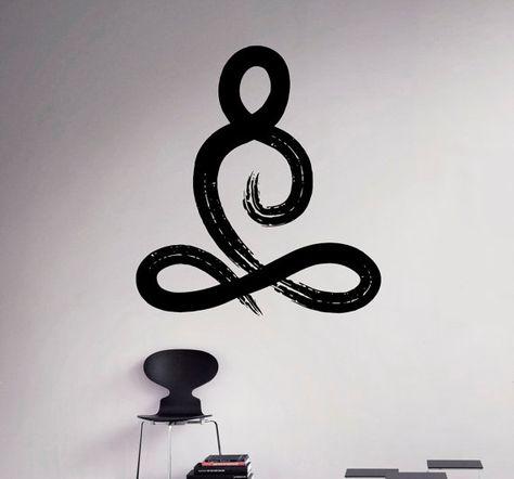 Símbolo de Yoga Pose pared vinilo calcomanía por USAmadeproducts