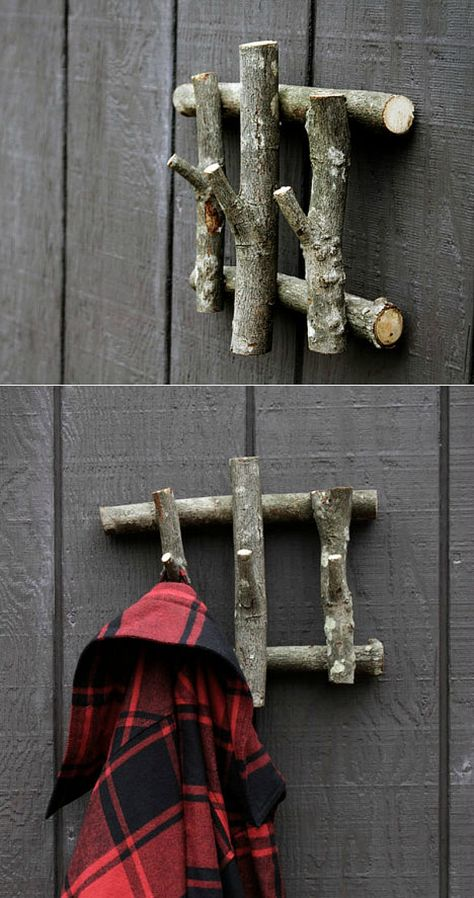 """this simple coat hanger from recycled wood and add a dose of character to your otherwise """"meh"""" foyer.Build this simple coat hanger from recycled wood and add a dose of character to your otherwise """"meh"""" foyer. Deco Nature, Weekend Projects, Recycled Wood, Recycled Decor, Tree Branches, Tree Branch Crafts, Tree Branch Art, Branch Decor, Tree Stumps"""
