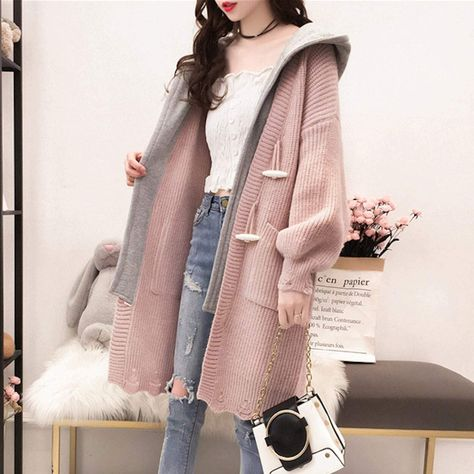 Womens Layered Look Hooded Cardigan - Pink / One Size