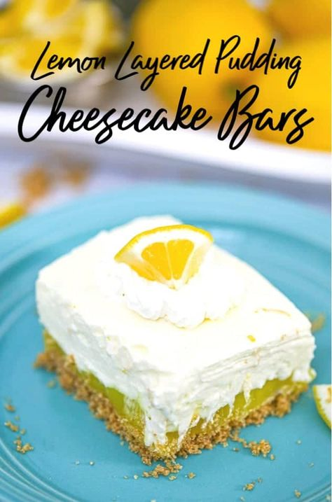Lemon Layered Pudding Cheesecake Bars - Lovin' on these light and fruity Lemon Layered Pudding Cheesecake Bars! These delightful bars are bursting with 3 lovely layers of lemon cheesecake fluff, lemon cream filling and a thick, buttery graham cracker crust that is to die for!#pudding #lemon #dessert #creamcheese #cheesecake  #bars