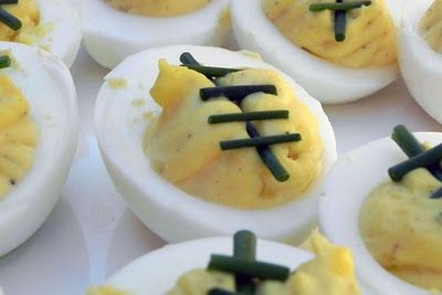 Football Deviled Eggs - I don't like eggs but how cute are these!!