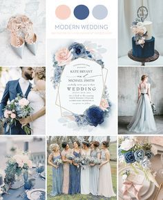 Dusty Blue Navy Blue and Blush Wedding <br> Blush, dusty blue and navy blue flowers elegant wedding invitations