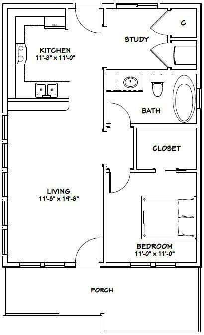 Details About 24x32 House 1 Bedroom 1 Bath Pdf Floor Plan 768 Sq Ft Model 1 Plan Kroshechnogo Doma Dizajn Nebolshoj Komnaty I Plany Etazhej Doma
