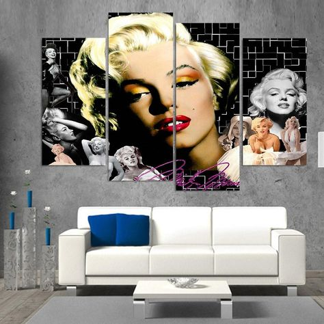 Marilyn Monroe Hollywood Celebrity Movie Actress Framed 4 Piece Canvas Wall Art Painting Wallpaper Decor Poster Picture Print - Medium / With framed