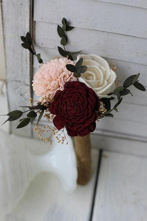 Budget Wedding Bouquets, Burgundy Blush Pink Ivory Sola Bouquets, Bouquet Set, Burgundy Bouquets