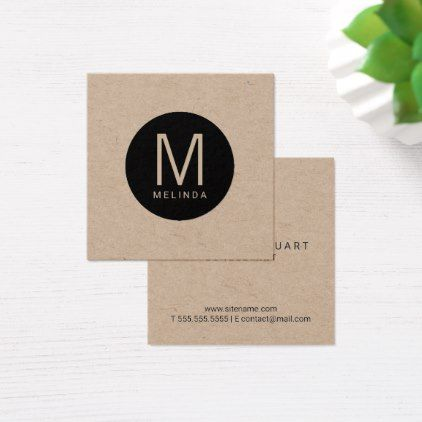Modern Professional Monogram Kraft Paper Square Business Card Zazzle Com Square Business Card Business Card Minimalist Business Card Modern