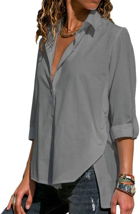 Looking for Wannpoty Womens Button Down Shirts Long Sleeve Office Casual Resilience Blouses ? Check out our picks for the Wannpoty Womens Button Down Shirts Long Sleeve Office Casual Resilience Blouses from the popular stores - all in one. Mode Outfits, Casual Outfits, Fashion Outfits, Fashion Blouses, Summer Outfits, Casual Tops For Women, Blouses For Women, Blouse Styles, Blouse Designs