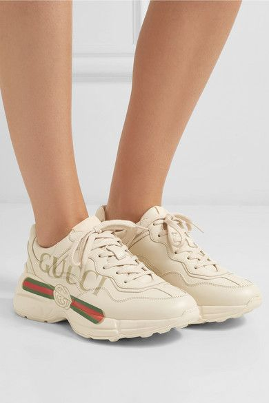48f23dd89e8 Gucci - Rhyton logo-print leather sneakers in 2019 | Sports, yoga ...