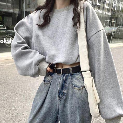 Aesthetic Hoodie - Korean Oversize Crop Sweatshirt