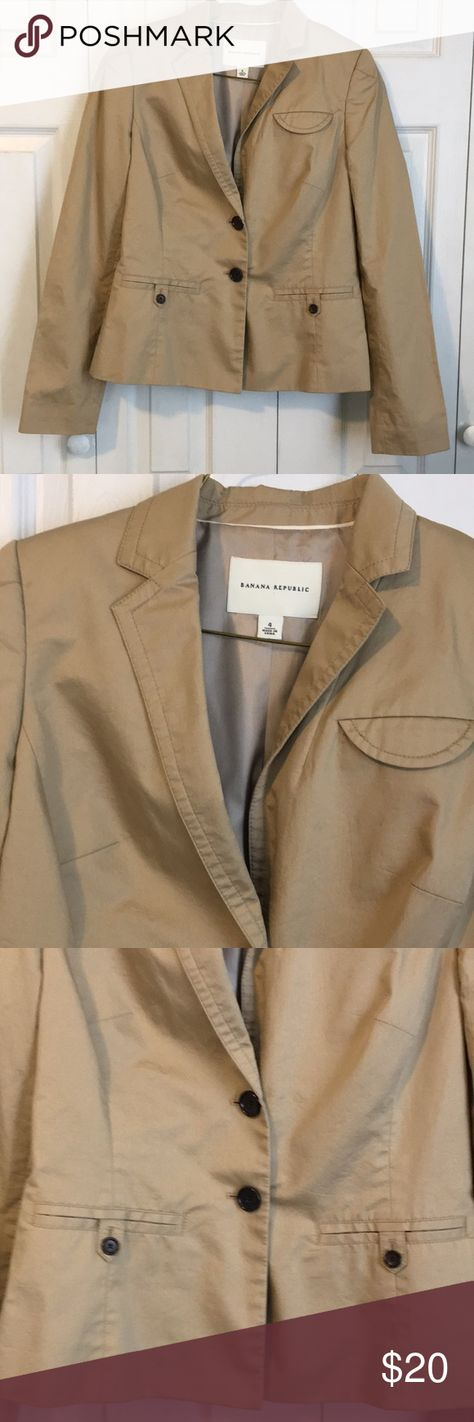 Banana Republic Khaki Cotton Blazer SZ 4 Beautiful cotton blazer by Banana Republic.   Timeless addition to any wardrobe! Size 4, khaki color, body lining is acetate, sleeve lining is polyester both linings are soft and comfy.  Blazer is in great preowned condition with no noticeable stains or wear.  Front button down pockets, faux chest pocket, two buttons at front and cute button tabs at back.  Very flattering fit. Banana Republic Jackets & Coats Blazers