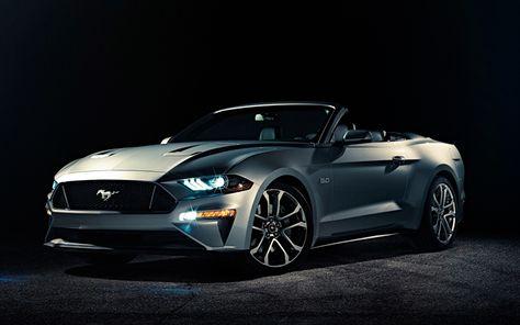 Herunterladen Hintergrundbild Ford Mustang 2018 Grau Cabrio Sportwagen Amerikanische