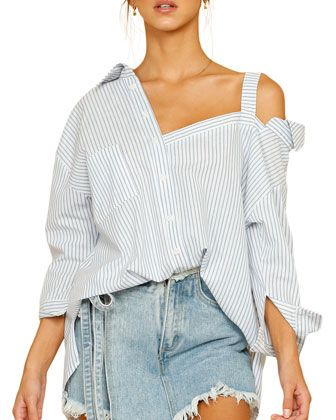 Stylekeepers Cruise Off The Shoulder Button Down Striped Top