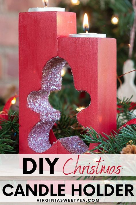 How to Make Christmas Cut Out DIY Wooden Candleholders