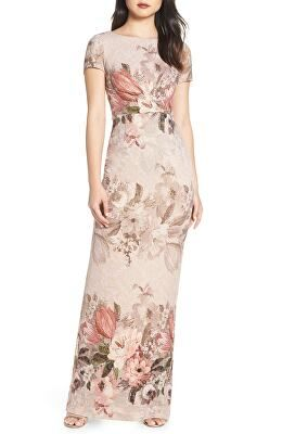 Adrianna Papell Designer Floral Border Print Evening Dress Column Gown Stylish Formal Dresses Dresses