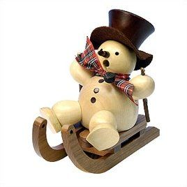 Natural Wood Finish Snowman on Sled Incense Burner