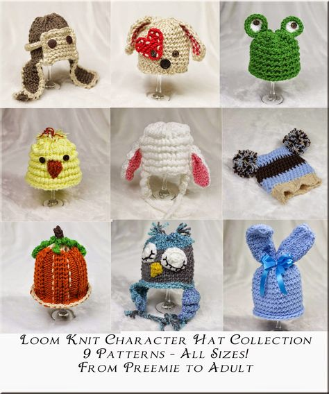 Loom Knit Character Hat PATTERN Collection, 9 Adorable PATTERNS ...