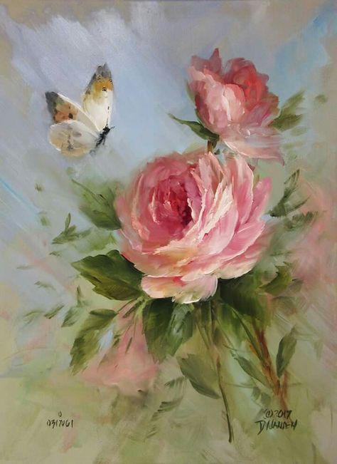 Image Peinture Fleurs De Garnier Annie Du Tableau Roses Dessin