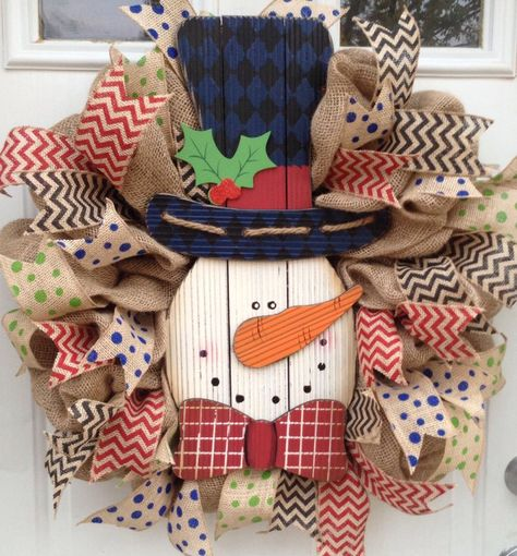 Burlap Christmas wreath with large snowman  accent in the center