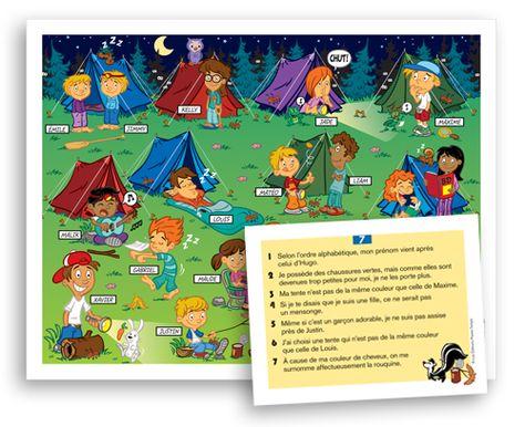 Le camping - Jeux éducatifs - Les Éditions Passe-Temps. À partir des indices fournis par les fiches de lecture, l'élève doit éliminer tous les personnages, sauf celui qu'il recherche.  Les objectifs de ce jeu sont de développer la compréhension en lecture, la visualisation, l'utilisation des connecteurs, le raisonnement logique et la capacité à faire des inférences (déductions).  Lorsque joué à deux, le jeu favorise également l'écoute et la coopération entre les élèves. (niveau CE)